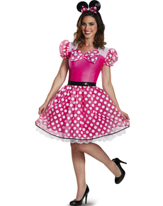 Fato de Minnie Mouse cor-de-rosa Glam para mulher