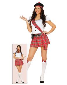 Fato de escocesa ou estudante para mulher